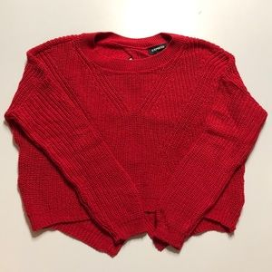 EXPRESS red braided back sweater! Worn once!